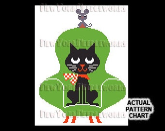 Retro Cat Cross Stitch, Cat Silhouette, Cat Cross Stitch, Cat and Mouse Cross Stitch, Cross Stitch, Cat Pattern, Cats by NewYorkNeedleworks