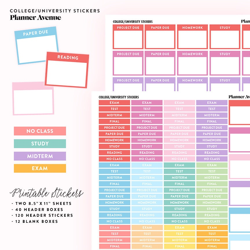 College Planner Stickers School Planner Stickers Student