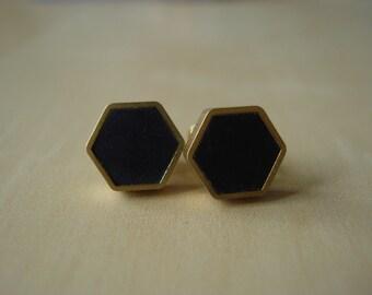 black small brass hexagon stud earrings