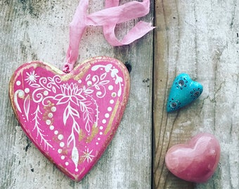 BoHo Wood Heart Ornament