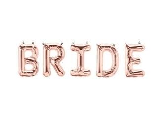 Bride Rose Gold Balloons,Bride Letter Balloons,Bride Rose Gold Letter Balloons,Bride Balloons,Bridal Shower Balloons,Bride to Be Balloons