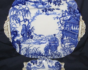Royal Crown Derby - Blue Mikado Handled Tray and Mint Dish