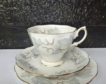 """Royal Albert Fine Bone China """"Silver Maple"""" Trio/ Tea Cup Saucer and Tea Plate/Trios/Royal Albert China/Cups and Saucers/Vintage/1960s"""