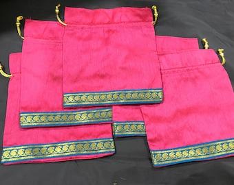 Set of 5 Pink silk batwa with blue border [N0144]