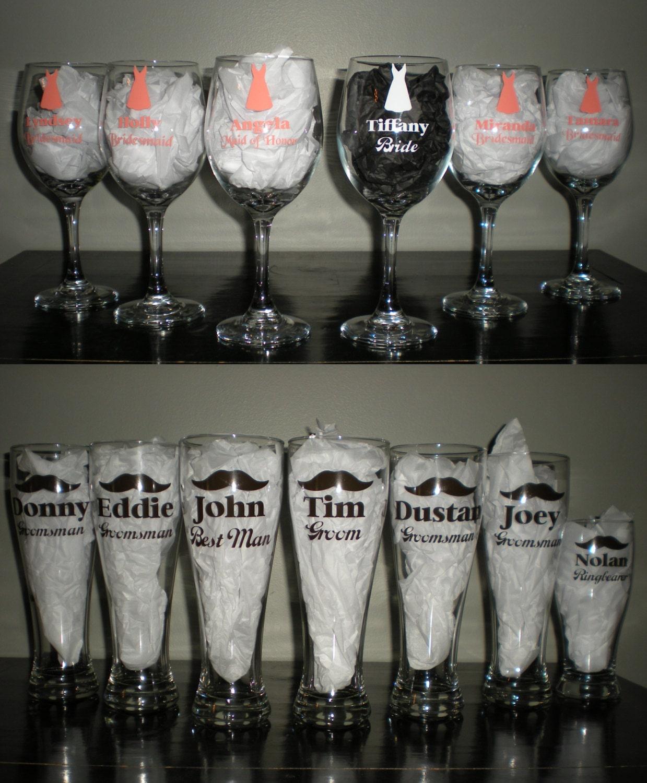 Wine Wedding: Wedding Party Wine Beer Glasses Set Bridal Gift Bridesmaids