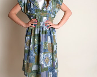 Vintage 1950s Dress - Blue Floral Patchwork Print Cotton Day Dress - Large