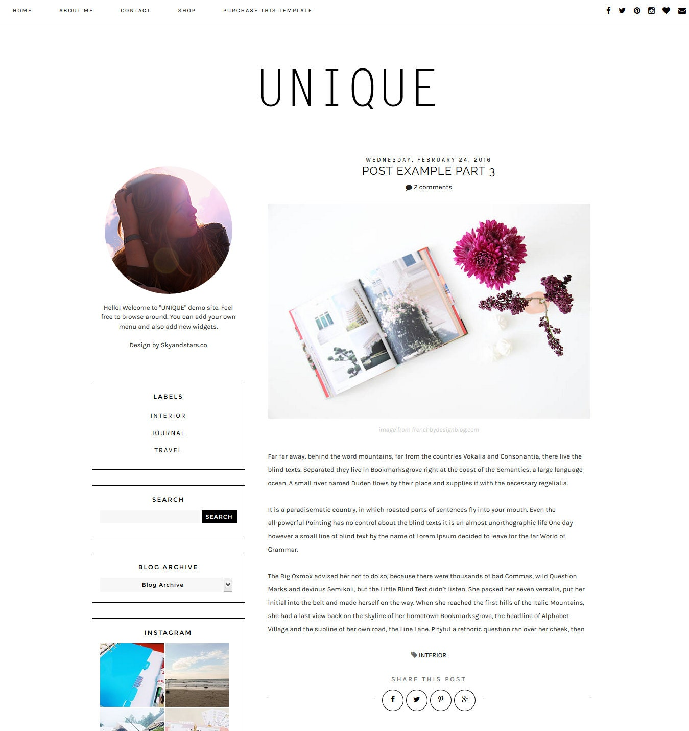 NEW Premade Blogger Template Clean Blog Design Blog Layout