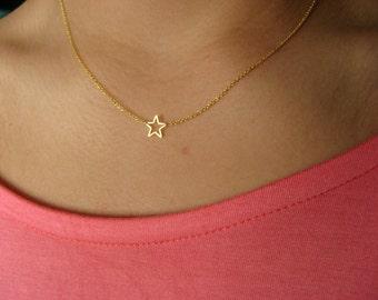Dainty Star Necklace - Little 14K Gold Filled Necklace with Gold Plated Star - gold necklace - minimalist - gold star - gift under 25