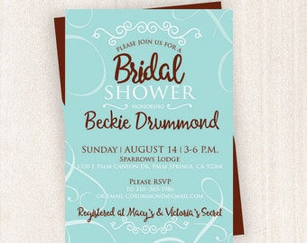 Teal Bridal Shower Invitation | Bridal Shower Printable | 5x7 Custom Bridal Shower Invitation|Invitation | Wedding Bridal Invitation