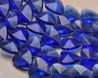 20x20x10mm sapphire colored quartz glass heart bead strand