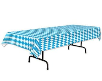 Oktoberfest Tablecover Blue Gingham Party Table Decorations Supplies