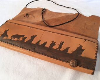 Long Pipe Pouch, Genuine leather, Middle Earth's Map, Long Pipe case, 35cm Pipe Case, Lord Of the rings Fellowship, Tobacco Pouch