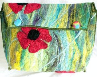 Handmade felted clutch bag/purse (Poppies)