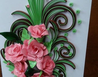 Pink Roses quilling card