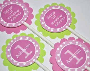 Girls 1st Birthday Cupcake Toppers, Party Decorations, Personalized Cupcake Toppers - Pink, Lime Green and White Polkadots - Set of 12