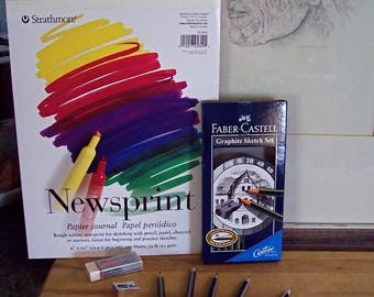"""Basic drawing supplies: Strathmore 9"""" x 12"""" 100 sheet drawing tablet, 6 Faber-Castell Graphite pencils, pencil sharpener, plus 2 erasers."""