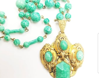Vintage Signed Czechoslovakia Speckled Green Glass Necklace with Gold Tone Jewelled Pendant, Czech Green Glass Choker