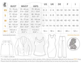 Aerosvar size chart for women's skirts, jackets, vests, tops, shirts, dresses, coats, pants and shorts