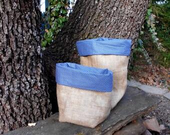 Large 40 cm Blue white dotted, Lined Burlap storage bag,Rustic, storage basket