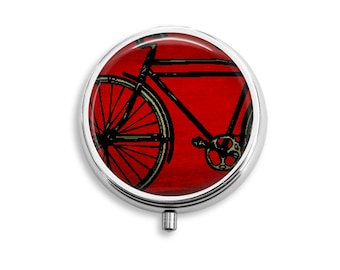 Bike Pill Box Stash Case Silver Medicine Case