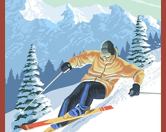 New Hampshire - Downhill Skier (Art Prints available in multiple sizes)