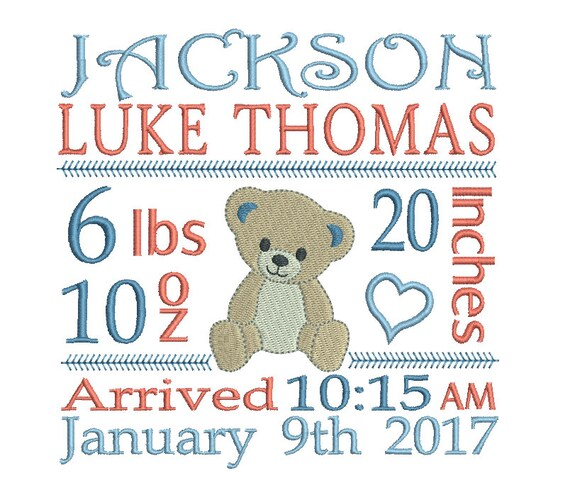 Birth Announcement Template Embroidery Design, Subway Art ...