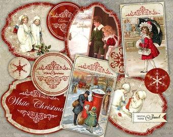 White Snowflakes - Embellishments - digital collage sheet - set of 10 embellished
