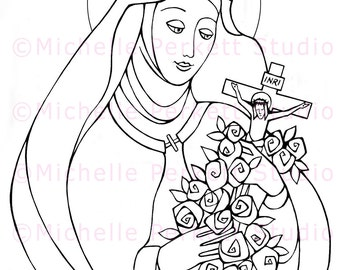 Digital Stamp Image Downloadable St. Therese of Liseux Carmelite Nun Catholic Christian Cardmaking Scrapbooking