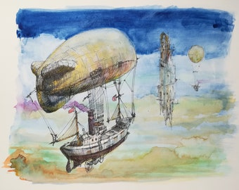 Watercolor and original ink, drawing and painting. Airship.