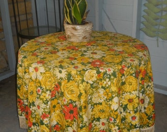 Fallani Cohn Fall Tablecloth 60 inch Round Yellow Floral Fringe Patio Free Shipping