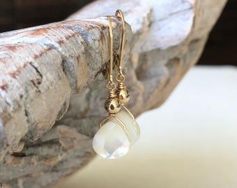 Pearl Tear Drop Earrings in Gold or Silver