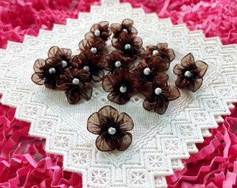 50 Tiny Brown Organza Flowers, Beaded Flowers,Chiffon Flowers, Sew on Flowers, Mini Applique,Tiny Embellishment,Chocolate Brown Bows