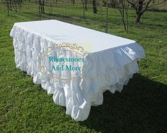 8 feet long - Ruffled White Tablecloth
