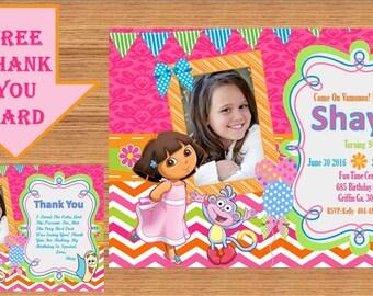 Dora The Explorer Invitation, Dora Invitation, Dora The Explorer Birthday, Dora The Explorer Birthday Party, Dora Party, Thank you Dora 0002