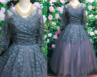 1950's Periwinkle Blue Tulle Lace Party Prom Dress Full Skirt Large