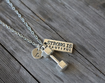 Strong is Beautiful Initial Necklace - Inspirational Jewelry - Weight Lifting Charm - Workout - Fitness