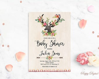 Deer Baby Shower Invitation Printable Baby Shower Invite Buck Baby Shower Template Antlers Baby Shower Floral Boho Shower Invite DIY Shower