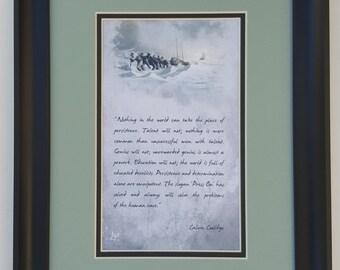 Desktop version:  Press On!  Framed motivational artwork inspired by Calvin Coolidge's famous quote.