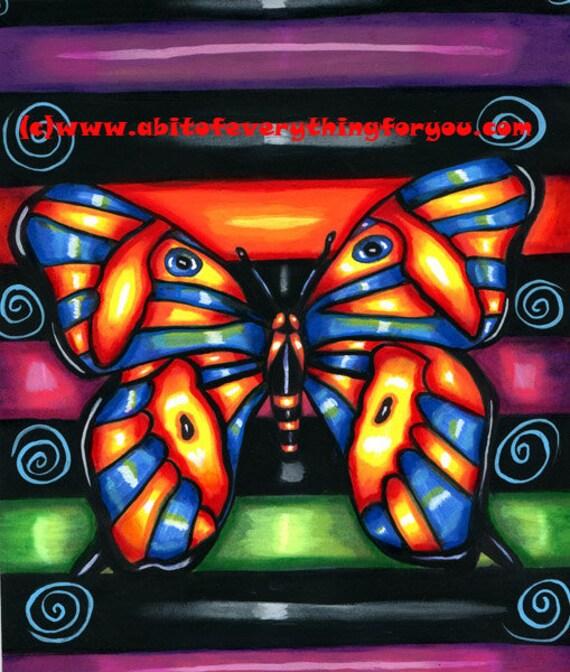 Whimsical Butterfly Art Painting original Folk Art butterflies acrylics painting animal modern art insects kids room nursery home decor