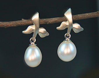 Pearl Drop Earrings, Branch Jewelry, Drop Pearl, Real Pearl Earrings, Wedding Earrings, Jewelry for Bridesmaid, Gifts for Her