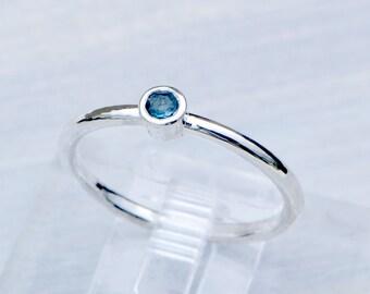 London Blue Topaz Ring, December Birthstone Ring, Blue Gemstone Ring, Stacker Ring, Promise Ring, Topaz Jewelry, Bezel Set Ring