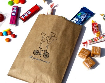 """Wedding Candy Bags (25), Wedding Favor Bags, Candy Buffet Bags - Bicycle Heart Balloons """"all you need is love"""" - Kraft Paper or White Paper"""