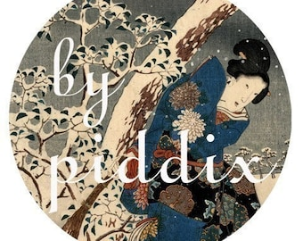 Japanese Snow Woodblock Prints in large circles for pocket mirrors and more -- piddix digital collage sheet 207