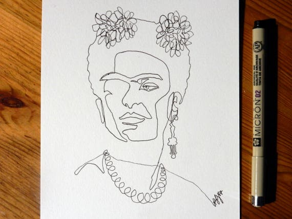 Line Art Portrait : Frida kahlo art original tribute single line