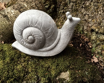 Snail Concrete Statue For Garden Decor, Yard Art Cast In Cement, Large Garden Snail