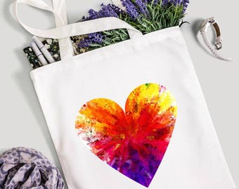 Vibrant heart tote, heart bag, colorful bag, market bag, canvas tote bag, gym bag, yoga bag, gift for her, gift for friend