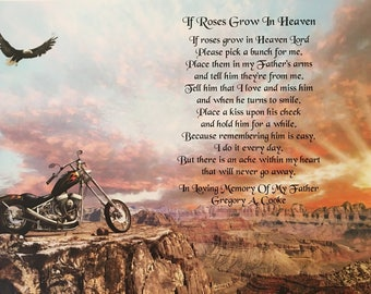 In Memory of Father, Sympathy Gifts, Condolence Gift, Memorial Day Gift, In Loving Memory, Motorcycle, Harley Rider, Biker, Loss of Dad