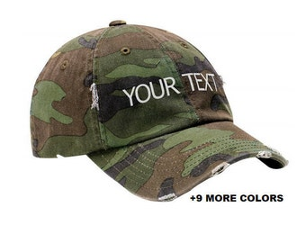 CUSTOM TEXT Distressed Baseball Hat | Camo Hat, Custom Embroidered Hat, Custom Hat, Personalized Hat, Unstructured Hat, Dad Hat