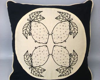 When life gives you lemons embroidered square cushion