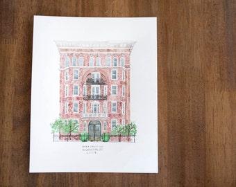 9x12 CUSTOM architectural watercolor portrait